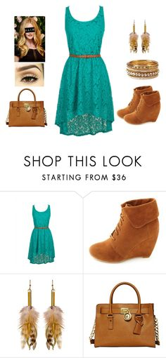 Brown and Turquoise Outfit by teodoramaria98 on Polyvore featuring Charlotte Russe, MICHAEL Michael Kors, Forever 21 and Sarah Jessica Parker