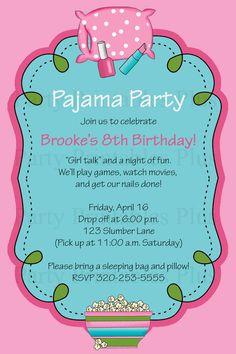 Pajama Sleepover or Slumber Party Birthday by PartyPrintablesPlus, $9.95