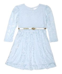 Light Blue Floral Burnout Dress & Belt - Infant Toddler & Girls