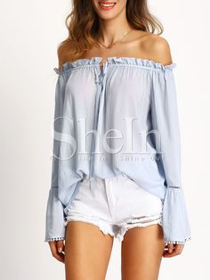 Shop Light Blue Off The Shoulder Bell Sleeve Blouse online. SheIn offers Light Blue Off The Shoulder Bell Sleeve Blouse & more to fit your fashionable needs. Casual Outfits, Cute Outfits, Fashion Outfits, Women's Fashion, Bell Sleeve Blouse, Bell Sleeves, Blouse Neck, Collar Blouse, Textiles Y Moda