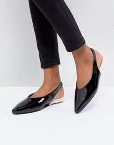 Image 1 of Monki Patent Pointed Sling Back