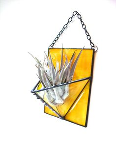 Air plant holder stained glass bright lemon yellow modern wall planter. $27.00, via Etsy.