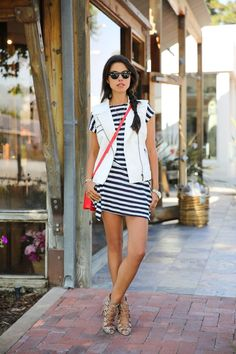 white vest and striped summer dress