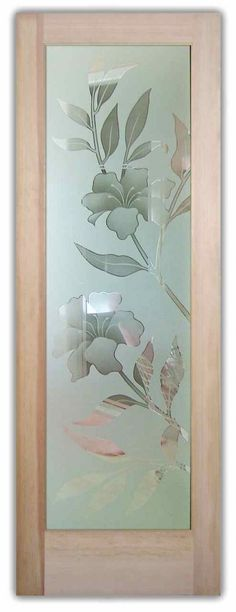 Hibiscus 2D Misted Door by Sans Soucie Art Glass.  Frosted Glass Front Doors Etched Glass Hibiscus Flowers.