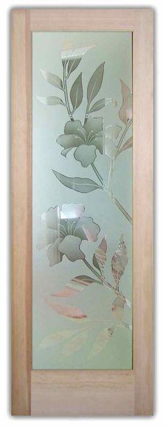 Hibiscus 2D Misted Door by Sans Soucie Art Glass.  Frosted Glass Front Doors Etched Glass Hibiscus Flowers.