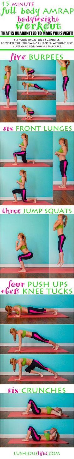 15 minute Full Body AMRAP {Bodyweight Workout} || lushiousLIFTS.com