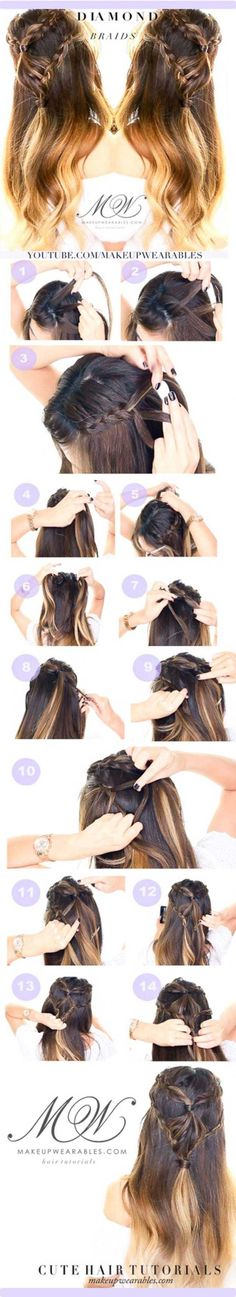 Amazing Half Up-Half Down Hairstyles For Long Hair - Diamond Headband Braid Hairstyle - Easy Step By Step Tutorials And Tips For Hair Styles And Hair Ideas For Prom, For The Bridesmaid, For Homecoming, Wedding, And Bride. Try An Updo Or A Half Up Half Down Hairstyle For Long Hair Or A Casual Half Ponytail For Blonde Or Brunette Hair. Easy Tutorial For Straight Hair Including A Top Knot, Loose Curls, And The Simple Half Bun. Styles And Hairdos For Veils, For Summer, For Fall, And For Winter…
