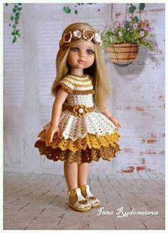 Crochet Girls Dress Pattern, Crochet Doll Dress, Doll Dress Patterns, Crochet Doll Clothes, Knitted Dolls, Baby Patterns, American Girl Crochet, American Girls, Sewing Baby Clothes
