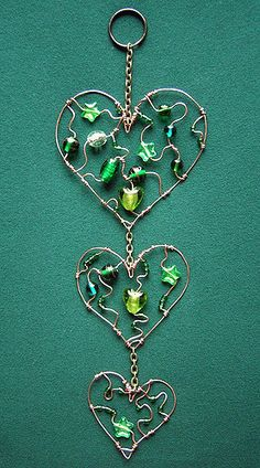 Trinity - a green beaded heart suncatcher in three parts in Beaded Suncatchers by Wire Wrapped Jewelry, Wire Jewelry, Beaded Jewelry, Jewelery, Wire Crafts, Bead Crafts, Jewelry Crafts, Wire Ornaments, Snowman Ornaments