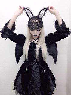 Cute Gothic Lolita Dress and Bunny Ears Hat / Lolita Girl / Fashion Photography / Cosplay // ♥ More at: https://www.pinterest.com/lDarkWonderland/