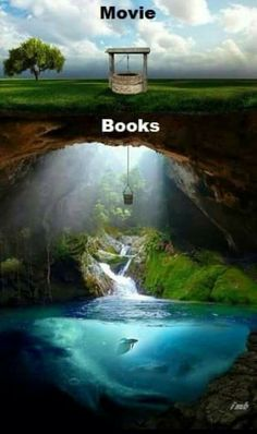 "I would say this is accurate. Movies like ""the Hobbit"", ""Narnia"", and the first hunger games movie are rare exceptions to the stigma that movie adaptations of books are bad. The worst film adaptation of a book in my opinion is the "" Percy Jackson"" movie. I Love Books, Good Books, Books To Read, My Books, Books Vs Movies, Watch Movies, Book Memes, Book Quotes, Book Fandoms"