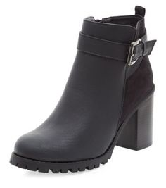 Black Buckle Strap Chunky Block Heel Boots