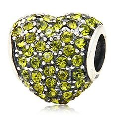Heart with Paved Crystal Birthstone 925 Sterling Silver Charm Bead Fits Pandora Charms Jewelry *** Find out more about the great product at the image link.