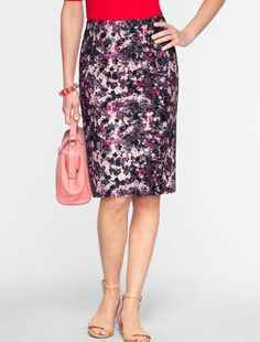 Analytical Talbots Periwinkle Floral Longer Silk Skirt Sz 12 Clothing, Shoes & Accessories