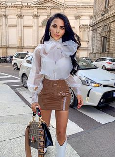 Gorgeous in our 'Sheer Turtleneck Blouse' + 'Patent Mini Skirt', love this look! Sexy Blouse, Bow Blouse, Summer Outfits, Cute Outfits, Little Presents, German Fashion, Fashion Blogger Style, Overall, Fashion Outfits