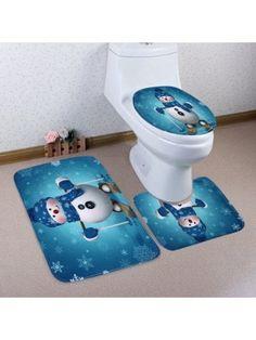 Christmas Snowman Skiing Pattern 3 Pcs Bathroom Toilet Mat