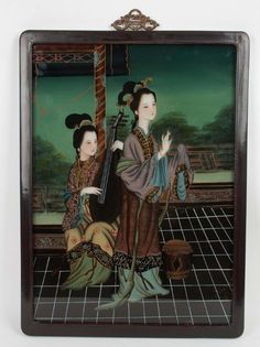 Description A Chinese reverse painted glass.  Portrait of two young female Chinese performers, one playing a traditional string instrument, the other pictured singing.  Date Circa 1900. late Qing Dynasty  www.collectorstrade.de
