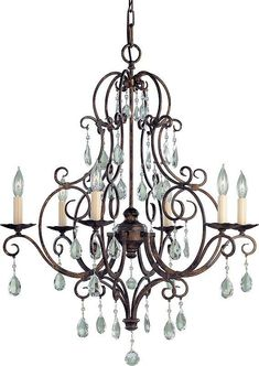 Feiss F1902/6 Chateau Crystal Themed 6 Light Chandelier Mocha Bronze Indoor Lighting Chandeliers