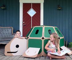 HULKI cardboard playhouses come in 3 cute animal shapes like this cute turtle. Fabulous birthday gift!