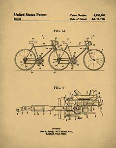 20 free vintage printable blueprints and diagrams remodelaholic patent print tandem bicycle poster tandem bicycle patent tandem bicycle print tandem bicycle art tandem bicycle decor p110 malvernweather Images