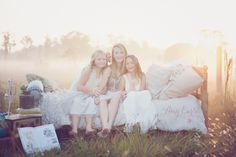 Gorgeous ideas for vintage stylized photography sessions. Sunrise session, amazing light. Backlighting at sunrise is glorious. Add the mist in the field and it is perfection!