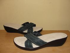 LANDS' END Womens Sz 10B Blue Leather X-strap Wedge Sandals Slides Slip On Shoes #LandsEnd #Slides #Casual