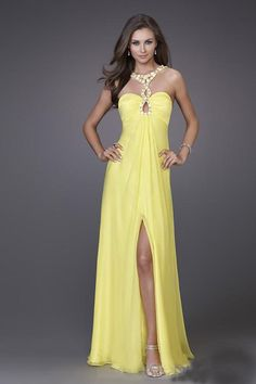 Split Front High Neck Beaded Sexy Prom Dress