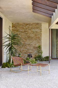 Outdoor Furniture - Kantan Brass Leather Rocker, Ottoman