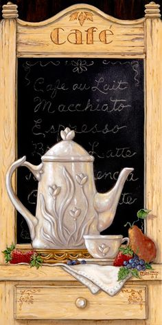 Coffee n' Fruit I, an oil painting of coffee serving essentials, fresh fruit and a lovely menu. We see a detailed porcelain coffee pitcher with a matching cup sitting on its saucer. Pears, strawberries, and grapes add the perfect assortment of colors needed to enhance the menu background. The first of two smaller original paintings  in Janet's  coffee still life's collection. Like all of Janet's work, Coffee n' Fruit is hand signed.