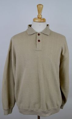 men's Orvis long sleeve polo heavy cotton beige leather Elbow Patches XL shirt' #Orvis #PoloRugby