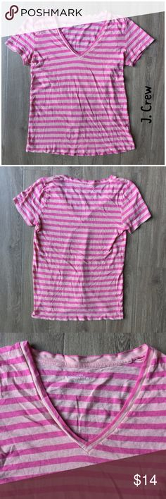 "J. Crew vintage cotton pink stripe tee M A classic cotton tee for any outing.  * Vintage cotton * V-neck * Pink stripes * Bust: 15 1/2"" approx. laying flat * Length: 22"" approx. laying flat * Sleeve: 6"" approx. * 100% cotton * Machine wash, tumble * Excellent used condition  * Bundle discount * No trades * Smoke free, pet friendly home J. Crew Factory Tops Tees - Short Sleeve"