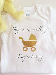 Cute onesie, funny onesie, funny baby clothes, baby shower gift, funny baby gift, baby gift funny, baby shirt, funny baby onesies, ones    This funny onesie is sure to have all of your friends chuckling!!    Would make a great baby shower gift!!    Can be made in a variety of sizes!!    The onesie is white and is 100% cotton.    Care for the onesie:  Please wash inside out in cold water with like colors and lay flat to dry    The sizes for the onesies go up to 3t and you can have the words…