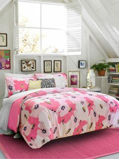 Check Out Teen Vogue's Bedding Collection. Would also love to have this in my room to add a pop of color when i redo it.