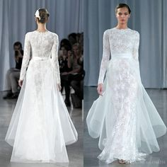 Wedding Gowns Pictures 2015 Vintage Long Sleeve Lace Sheath Wedding Dresses Newest Crew Muslim Full Zipper Back Sweep Train Modest Bridal Gowns With Tulle Train Wedding Shops From Xzy1984316, $161.97| Dhgate.Com