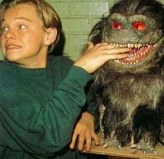 "Leonardo DiCaprio on the set of ""Critters 3"""