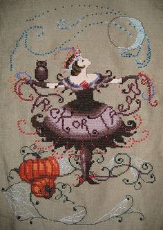 Halloween fairy cross stitch. Cross-Stitch & Needlework, September 2008. Designed by Nora Corbett.