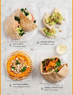 4 Easy + Healthy Pita Lunch Ideas