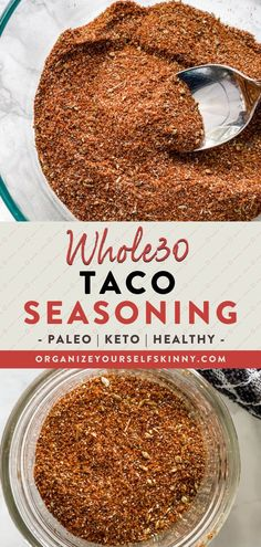 Homemade Whole30 Taco Seasoning   Healthy Dinner Recipes - This whole30 taco seasoning mix is better than anything you can purchase in the store. You can make it in less than 5 minutes with simple pantry spices. This homemade taco seasoning will elevate all of your favorite Whole30, Keto, and Paleo taco recipes. Organize Yourself Skinny   Meal Prep Recipes   Meal Planning for Beginners   Healthy Dinner Ideas   Meal Prep for Beginners   Healthy Family Recipes Paleo Tacos, Healthy Tacos, Healthy Low Carb Recipes, Healthy Family Meals, Skinny Recipes, Family Recipes, Keto Recipes, Taco Seasoning Packet