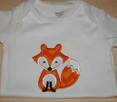 Fox onesie orange chevron custom made to order by StitchtoRemember, $14.00