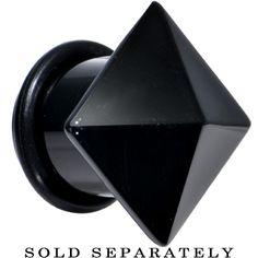 "1/2"" Black Agate Semi Precious Stone Pyramid Top Plug | Body Candy Body Jewelry"