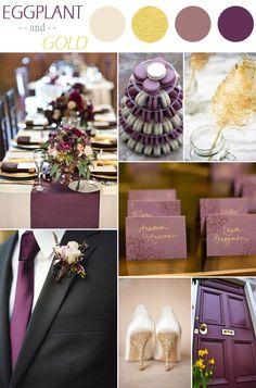 eggplant purple and gold fall wedding color ideas http://www.jexshop.com/