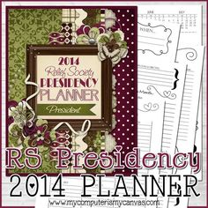 ON Sale - 2014 LDS Relief Society Presidency Planner Organizer, RS - Printable Instant Download on Etsy, £2.56