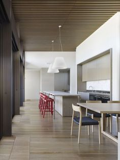 This is an interesting space. Not sure about the bar stools but love the contrast and movement created.