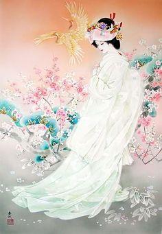 Geisha Painting on Canvas Art Geisha, Geisha Kunst, Japanese Painting, Chinese Painting, Chinese Art, Chinese Style, Asian Artwork, Cool Artwork, Art Chinois