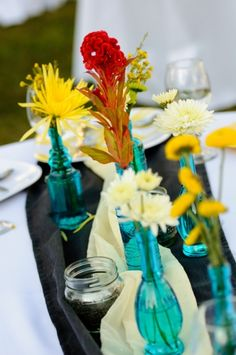 pop of color with turquoise vases