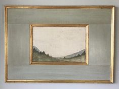 Landscape on aged burlap. Framed in gilded frame with polished plaster surround. Available in Gold or Silver gilded frame. Specify Horizontal or. Landscape Art, Landscape Paintings, Contemporary Landscape, Watercolor Landscape, Cuadros Diy, Estilo Interior, Mediterranean Home Decor, Tuscan Decorating, Painting Frames