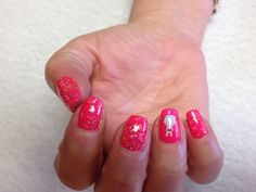 Neon pink with confetti glitter and bunny accent nails Oasis Salon and Spa Mill Hall Pa (570)726-6565