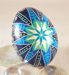 Chicken Pysanky Egg Blue Quadruple Star by GoldenEggPysanky, $23.00
