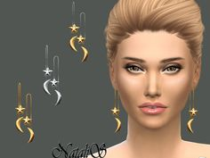 Star Moon Front Back Drop Earrings by NataliS at TSR via Sims 4 Updates