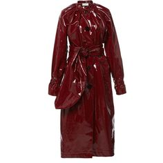 Light PVC Seventies Trench Coat | Moda Operandi (22.699.980 VND) ❤ liked on Polyvore featuring outerwear, coats, red collarless coat, collarless coat, collarless trench coat, tie belt and red trench coat